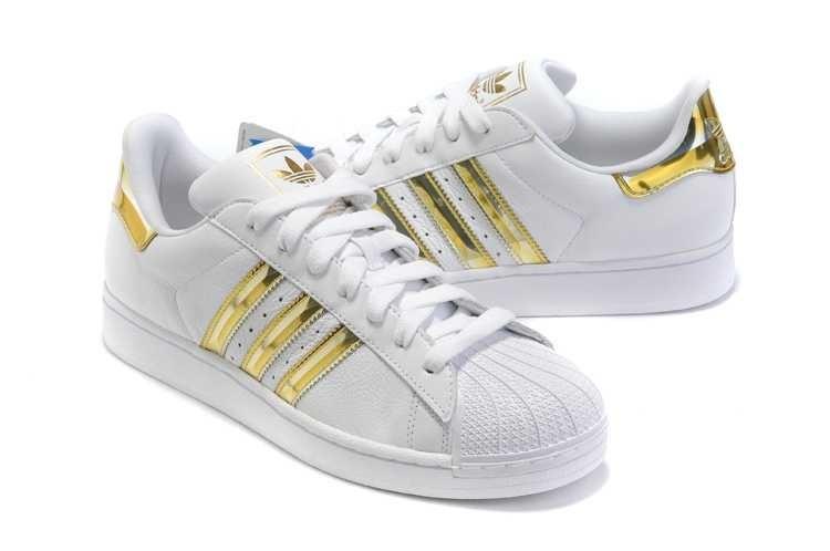 adidas superstar blanche et doré