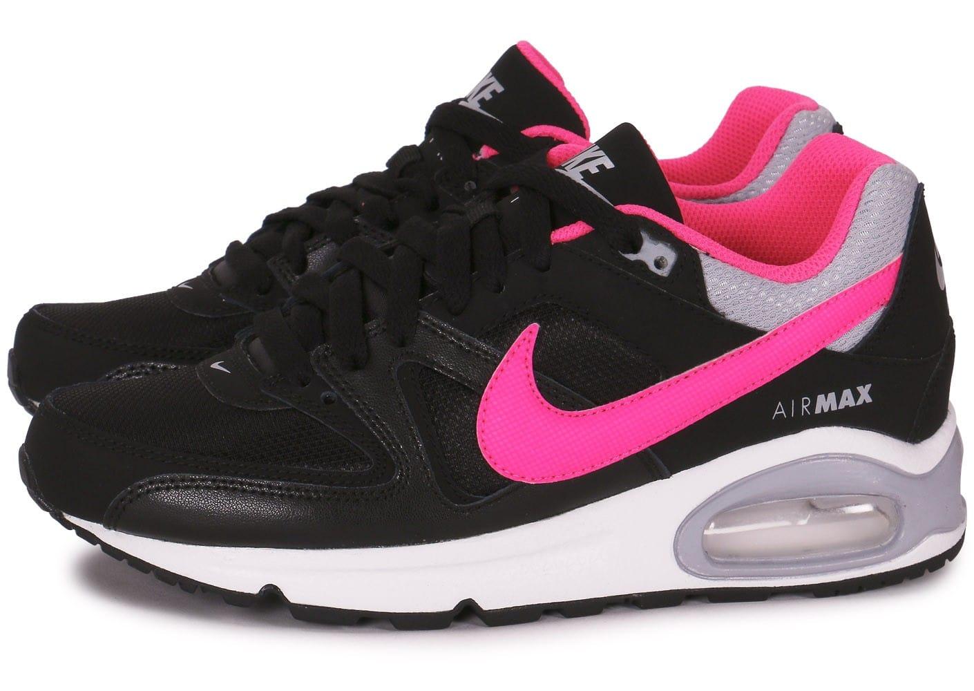 more photos 99a27 a0163 air max command junior. Cliquez pour zoomer Chaussures Nike Air Max Command  Junior Noire Et Rose vue extérieure .